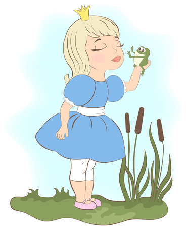 hoping: Little Princess kissing a frog, hoping for a prince. Frog is frightened.
