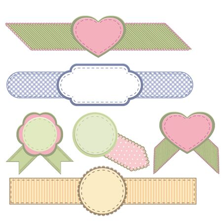 woven label: Set of retro ribbons and labels.