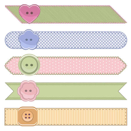 woven label: Set of fashion ribbons fashion ribbon textured clothing labels with stitches.