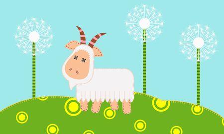 patchwork: Cute goat on patchwork background. Illustration
