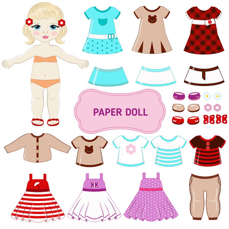 fashion doll: Paper doll with clothing set.