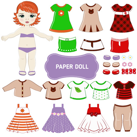 girl in red dress: Paper doll with clothing set.
