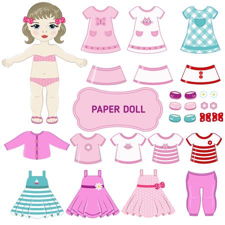 Papier pop met kleding set. Stock Illustratie