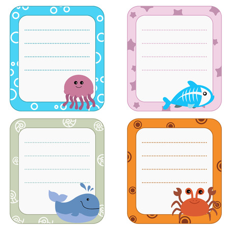 sea creatures: Collection of cute frames with Sea creatures.