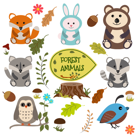 Forest animals vector set of icons and illustrations. Imagens - 49457534