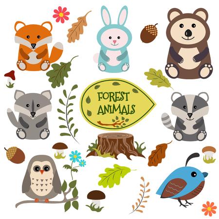 codorniz: Los animales del bosque conjunto de vectores de iconos e ilustraciones.