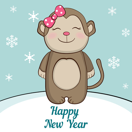 newyears: Cute monkey under the snow. Merry Christmas and a Happy New-Years greeting sweet postcard.