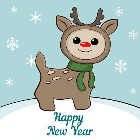 newyears: Christmas reindeer. Merry Christmas and a Happy New-Years greeting sweet postcard. Illustration