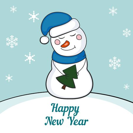 newyears: Funny snowman. Merry Christmas and a Happy New-Years greeting sweet postcard.