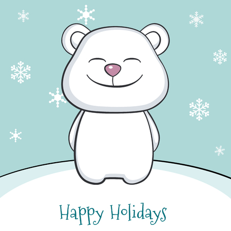 newyears: Cute white bear under the snow. Merry Christmas and a Happy New-Years greeting sweet postcard.