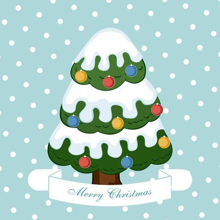 christmas greeting card: Christmas tree. Christmas greeting card. Illustration