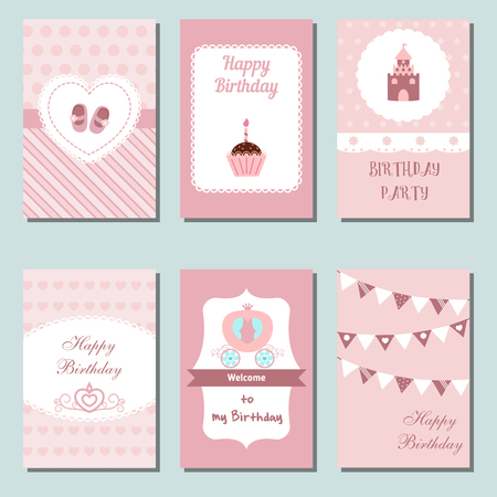 decorated cake: Set of beautiful birthday invitation cards decorated with carriage, castle, cake, shoes,  flags.