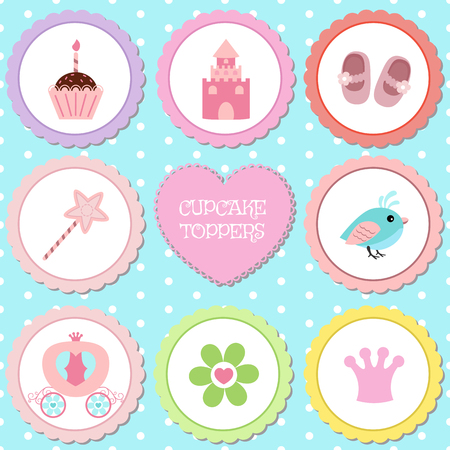Set of tags with princess theme. Cupcake toppers for Birthday. Ilustração