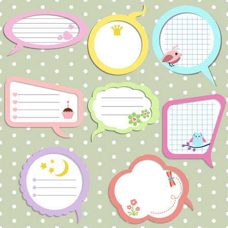 Set of colorful speech bubbles with different elements.