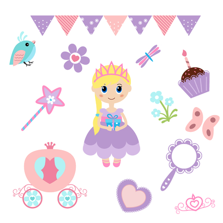 woman mirror: Vector illustration of princess design elements. Princess and Fairy Items.