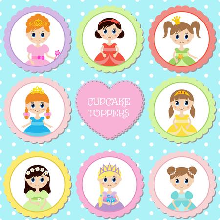 Set of tags with princess theme. Cupcake toppers for Birthday. Ilustração