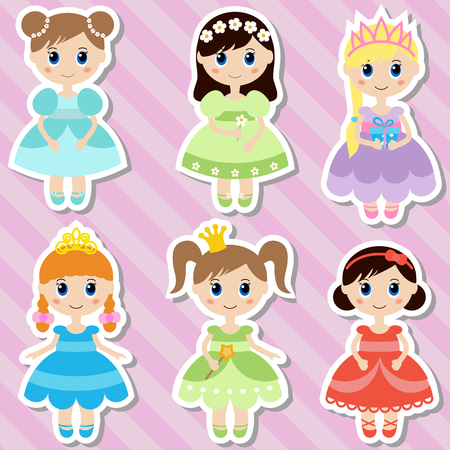 nude girl young: Big set of beautiful princesses. Princess stickers. Illustration