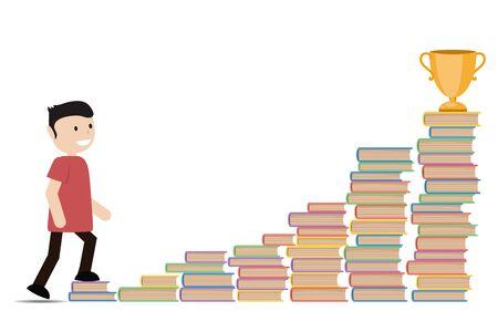 Ilustración de un hombre subiendo la escalera de libros.