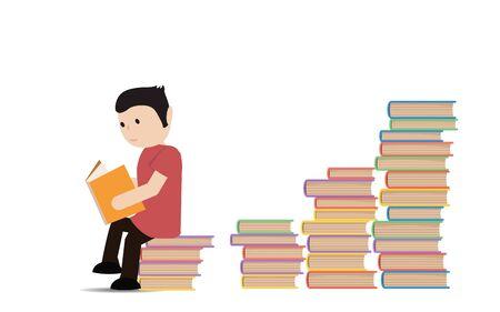 storyteller: Man sitting and reading a book. Illustration