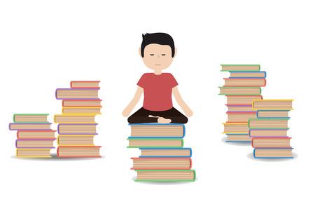 meditates: Man meditates on a pile of books.  Calm pose, harmony, body exercise sitting. Vector flat design illustration isolated. Illustration