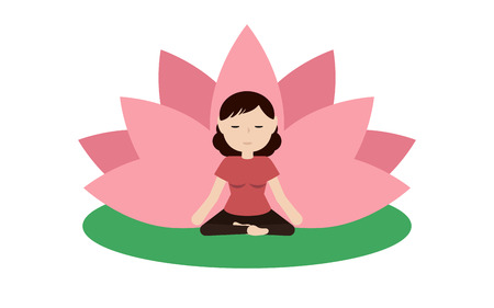 calm woman: Calm woman is doing yoga and sitting in the lotus position with pink petals of a lotus flower behind. Isolated on white background Flat illustration. Illustration