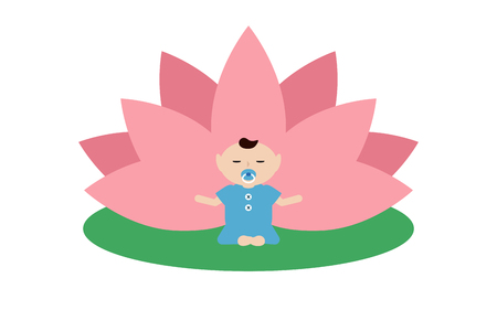 spirit medium: Baby is doing yoga and sitting in the lotus position with pink petals of a lotus flower behind. Isolated on white background Flat illustration. Illustration