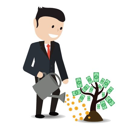 watering plant: Businessman watering plant with dollar leaves. Businessman investing money concept. Illustration