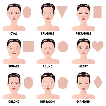 Set of nine different woman's face shapes. Vector illustration.