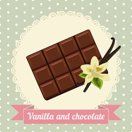 confectioner: chocolate and vanilla flower on a simple background