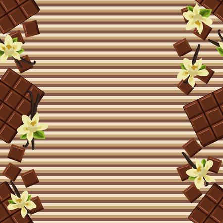 vainilla flor: Fondo con la flor chocolate y vainilla