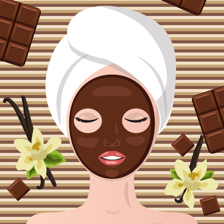 spa therapy: Spa therapy. Chocolate spa  party. Girl lying, his eyes closed.