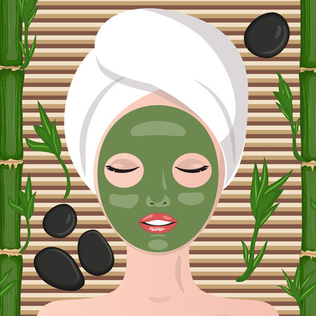 bamboo therapy: Spa therapy. Stones and bamboo shoots. Girl lying, his eyes closed.