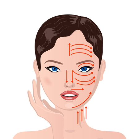 Woman face with face massage line