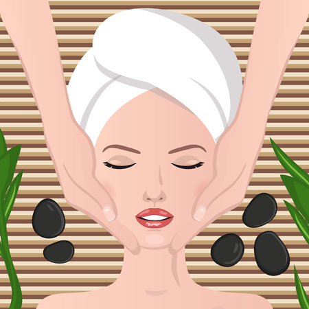 spa therapy: Spa therapy. Face massage