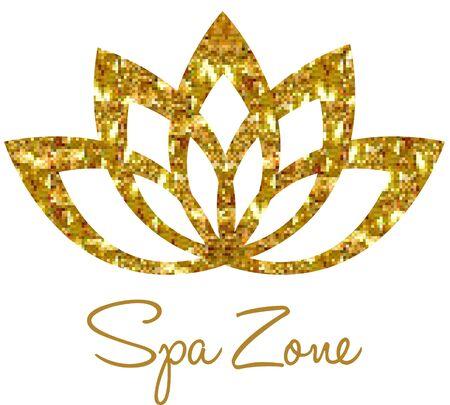 gold woman: SPA - template   for Spa lounge, beauty salon, massage area, yoga center, natural cosmetics etc.. Lotus symbol. Illustration