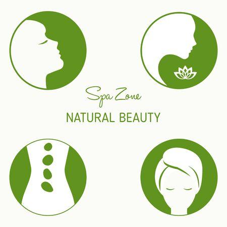 comfort: Vector set of design elements  for spa, boutique, beauty salon. Illustration