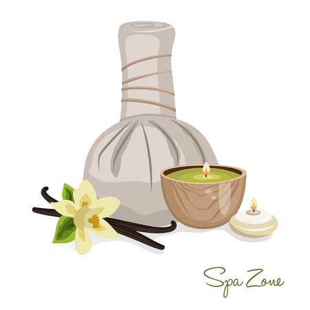 rock salt: Spa theme object on white background. Candles and vanilla flower. Illustration