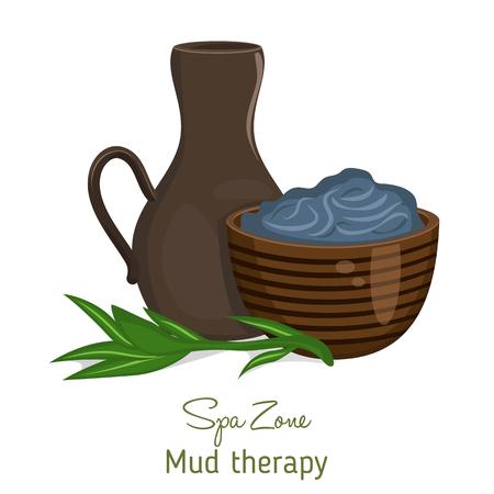dead sea: Spa theme object. Dead sea mud for spa treatments. Illustration
