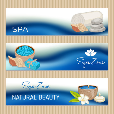 beautify: Set of banners with Spa theme object. Beauty, spa theme.