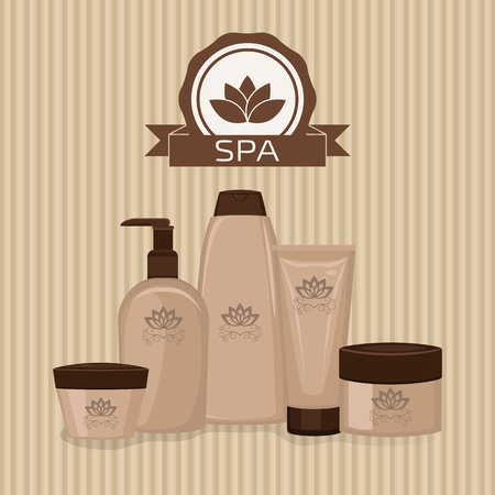 beautify: Spa theme object. Set of cosmetic containers.