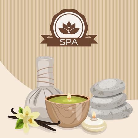 flor de vainilla: Spa objeto de tema. Diferentes velas, piedras, bolas de masaje a base de hierbas y flores de vainilla.