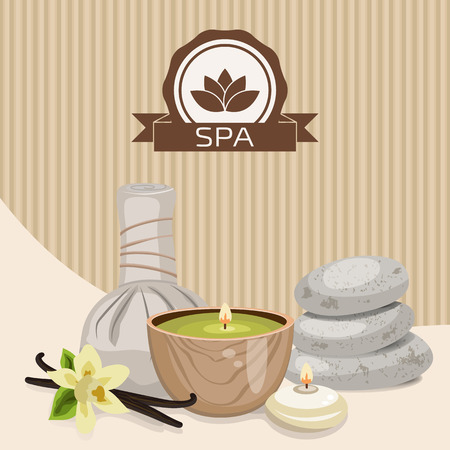 beautify: Spa theme object. Different candles, massage stones, herbal balls and vanilla flower. Illustration