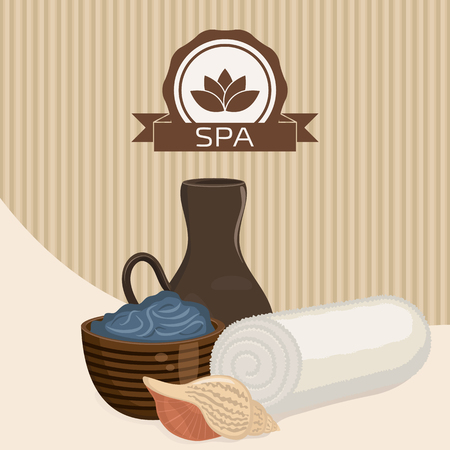 dead sea: Spa theme object. Dead sea mud for spa treatments in a cup. White towel and seashell.