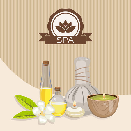 beautify: Spa theme object. Different candles, massage oil, herbal balls and orchid flower. Illustration