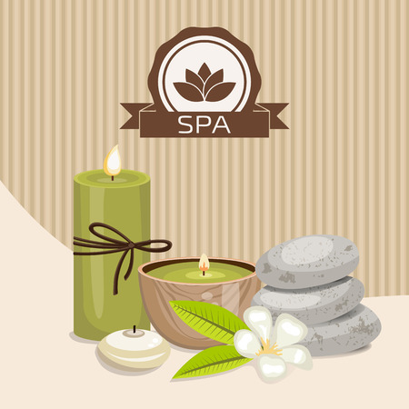 stones with flower: Spa theme object. Different candles, massage stones and orchid flower. Illustration