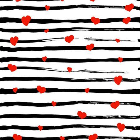 stripes seamless: Red hearts seamless pattern on stripe background Illustration