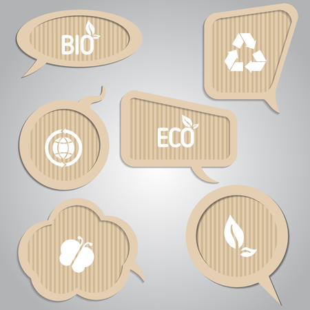 eco notice: Set of cardboard speech bubbles with eco elements. Eco theme.