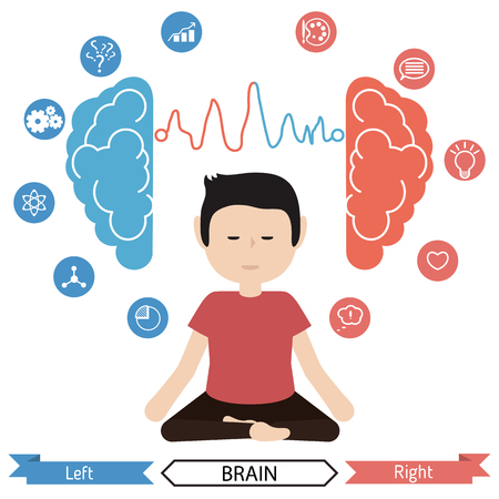 left right: Left and right brain functions concept, analytical and creativity. Benefits of meditation. Illustration