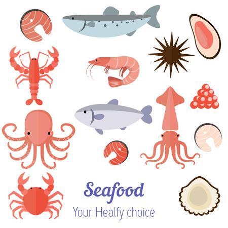 Vector set illustration of different kinds of seafood on white  background. Illustration