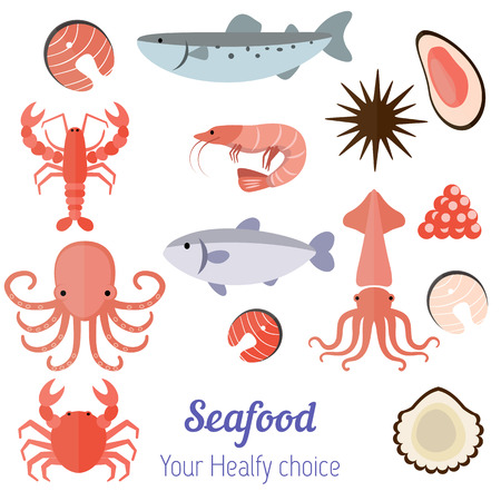 Vector set illustration of different kinds of seafood on white  background. Иллюстрация